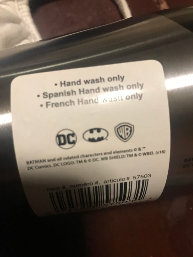 Product - Hand wash only • Spanish Hand wash only • French Hand wush only DC WB BATMAN and all related characters and elements & DC Comics. DC LOGO: TM& O DC. WB SHIELD: TM&OWBEI. (s16) BAT OC Item #. numéro #, articulo # 57503