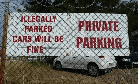 Motor vehicle - ILLEGALLY PARKED CARS WILL BE FINE PRIVATE PARKING