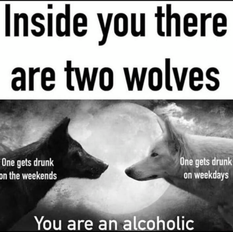 Photo caption - Inside you there are two wolves One gets drunk on the weekends One gets drunk on weekdays You are an alcoholic