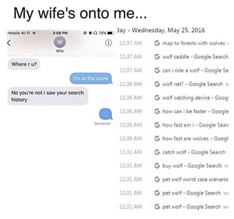 Text - My wife's onto me... Mobile Wi-Fi O 76% day - Wednesday. May 25. 2016 3.08 PM く O 11:37 AM G map to forests with wolves Wite 11:37 AM G wolf saddle- Google Search Where r u? 11:37 AM G can i ride a wolf - Google Se (rm at the store 11:36 AM G wolf net? - Google Search w No you're not i saw your search history G wolf catching device Goog 11:36 AM 11:36 AM G how can i be faster - Google Delivered 11:36 AM G how fast am i- Google Seari 11:36 AM G how fast are wolves - Googl 11:31 AM G catch