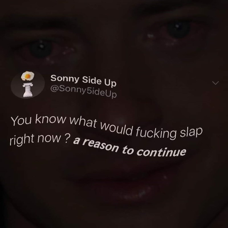 Text - Sonny Side Up @Sonny5ideUp You know what would fucking slap a reason to continue ? right now