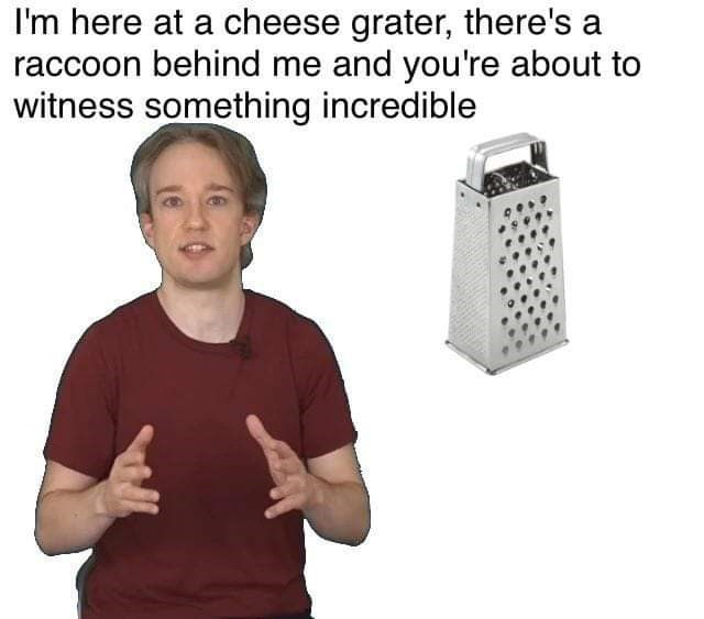 Technology - I'm here at a cheese grater, there's a raccoon behind me and you're about to witness something incredible