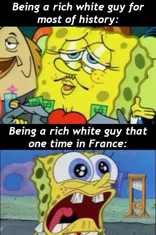Cartoon - Being a rich white guy for most of history: Being a rich white guy that one time in France: Oc historymemes