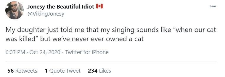 """Text - Jonesy the Beautiful Idiot •I @VikingJonesy 000 My daughter just told me that my singing sounds like """"when our cat was killed"""" but we've never ever owned a cat 6:03 PM - Oct 24, 2020 · Twitter for iPhone 56 Retweets 1 Quote Tweet 234 Likes"""
