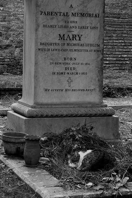 "Grave - A PARENTAL MEMORIAL TO ONE DEARLY LOV ED AND EARLY LOST MARY DAUGHTER OF NICHOLAS LUDLUM WIFE OF LEWIS CASS,US MINISTER AT ROME BORN IN NEW YORK JULY 23-1834 DIED IN ROME-MARCH 4-1853 ""HE GIVETH HIS BELOVED REST"