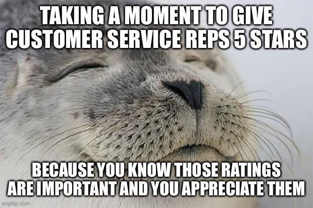 Snout - TAKING A MOMENT TO GIVE CUSTOMER SERVICE REPS 5 STARS BECAUSE YOU KNOW THOSE RATINGS ARE IMPORTANT AND YOU APPRECIATE THEM imgflip.com
