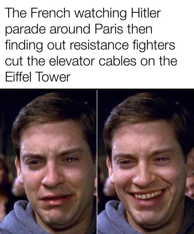 Face - The French watching Hitler parade around Paris then finding out resistance fighters cut the elevator cables on the Eiffel Tower