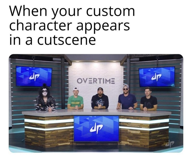 Product - When your custom character appears in a cutscene OVERTIME DUDE