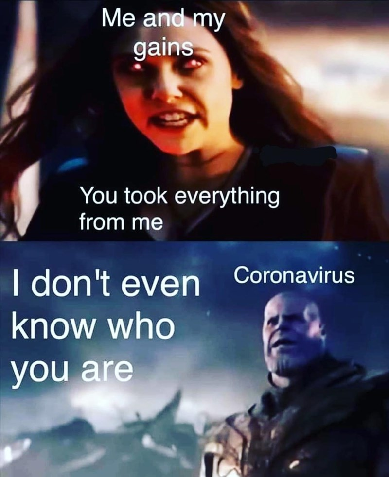 Thanos and Scarlet Witch Marvel me and my gains You took everything from me Coronavirus I don't even know who you are