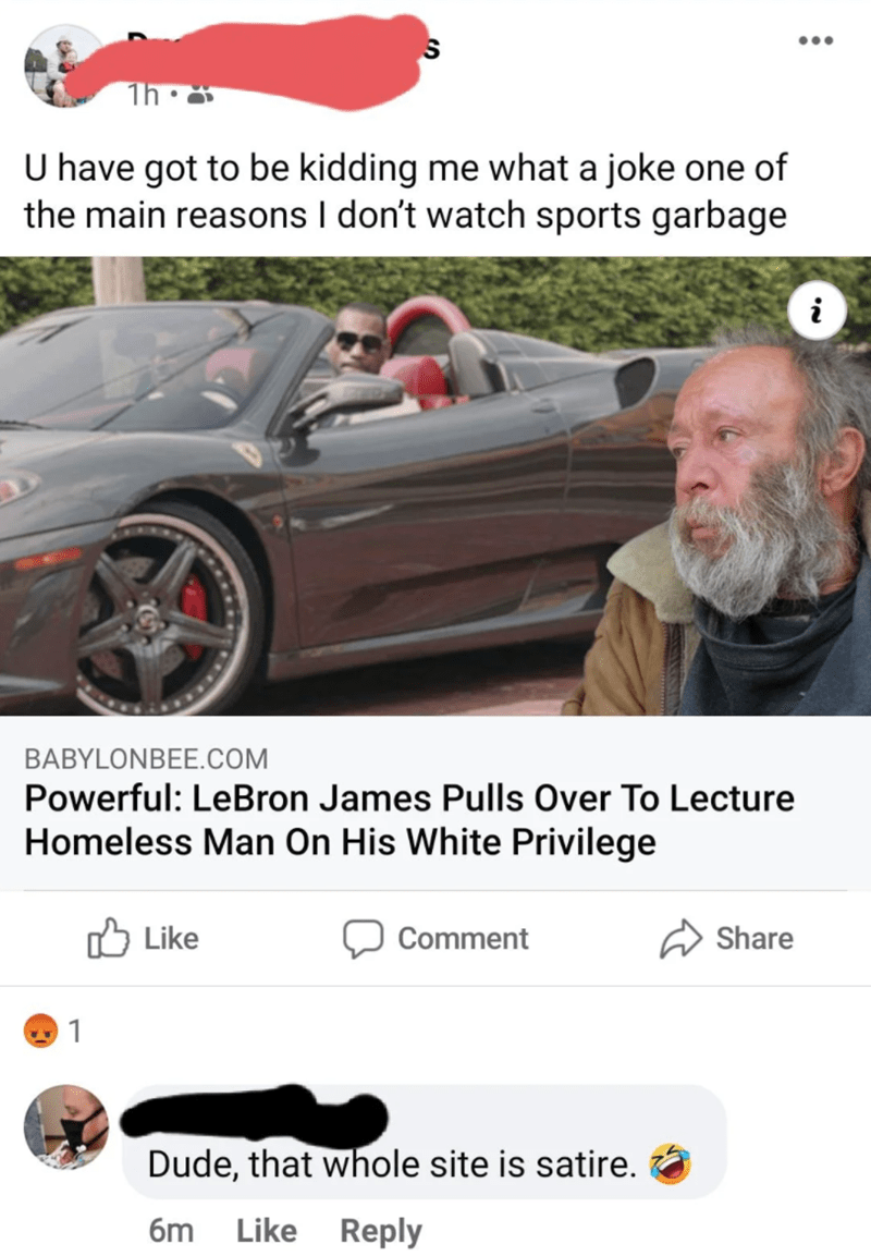 Text - Vehicle - ... U have got to be kidding me what a joke one of the main reasons I don't watch sports garbage BABYLONBEE.COM Powerful: LeBron James Pulls Over To Lecture Homeless Man On His White Privilege Lke לו Comment Share 1 Dude, that whole site is satire. 6m Like Reply