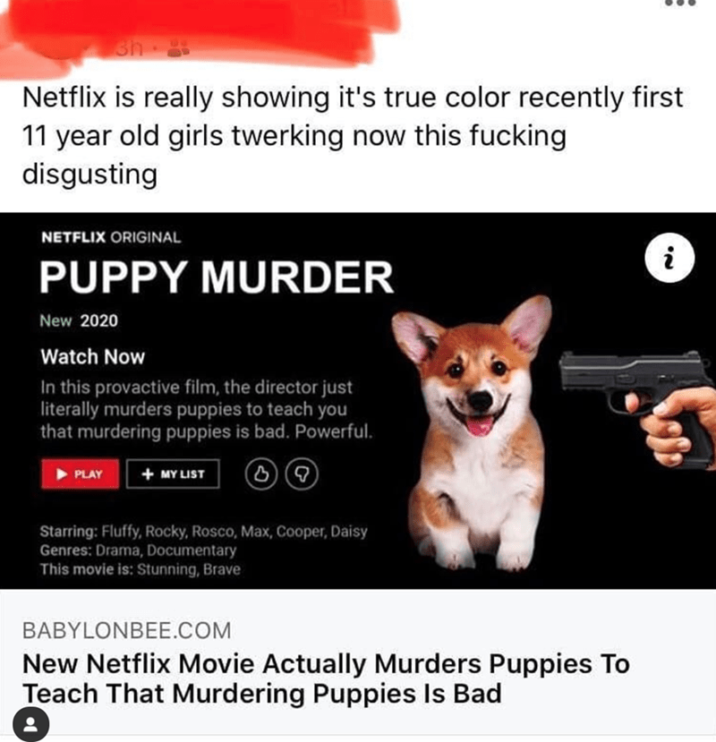 Text - Canidae - sh Netflix is really showing it's true color recently first 11 year old girls twerking now this fucking disgusting NETFLIX ORIGINAL PUPPY MURDER New 2020 Watch Now In this provactive film, the director just literally murders puppies to teach you that murdering puppies is bad. Powerful. PLAY + MY LIST Starring: Fluffy, Rocky, Rosco, Max, Cooper, Daisy Genres: Drama, Documentary This movie is: Stunning, Brave BABYLONBEE.COM New Netflix Movie Actually Murders Puppies To Teach That