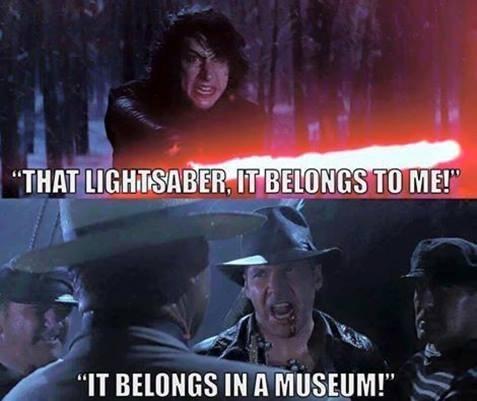 """Photo caption - """"THAT LIGHTSABER, IT BELONGS TO ME!"""" """"IT BELONGS IN A MUSEUM!"""""""