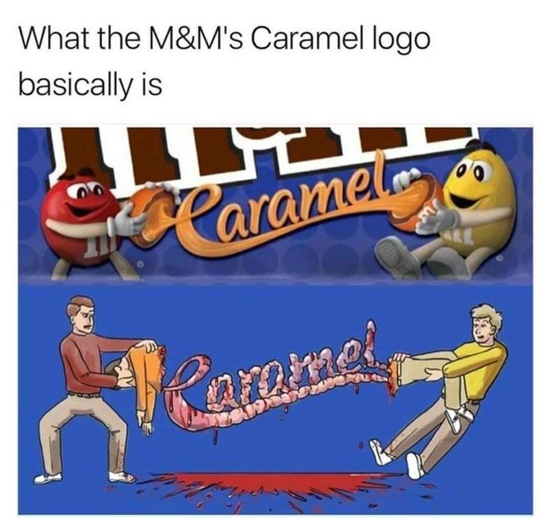 Cartoon - What the M&M's Caramel logo basically is Caramet aramei