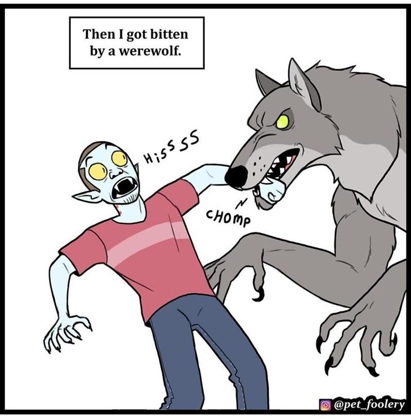 Cartoon - Then I got bitten by a werewolf. CHOMP @pet_foolery