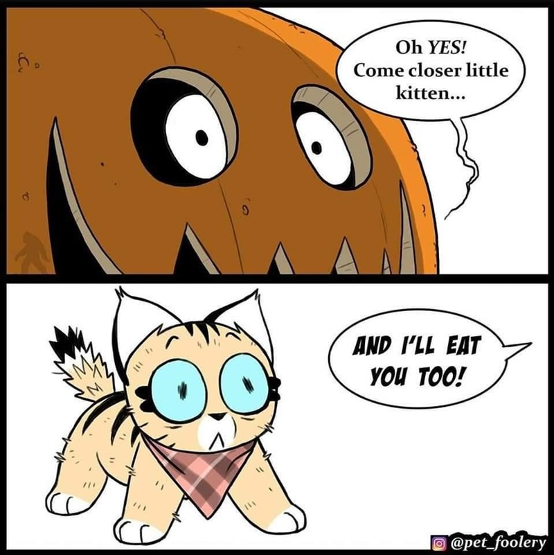 Cartoon - Oh YES! Come closer little kitten... AND I'LL EAT YOU TOO! @pet_foolery