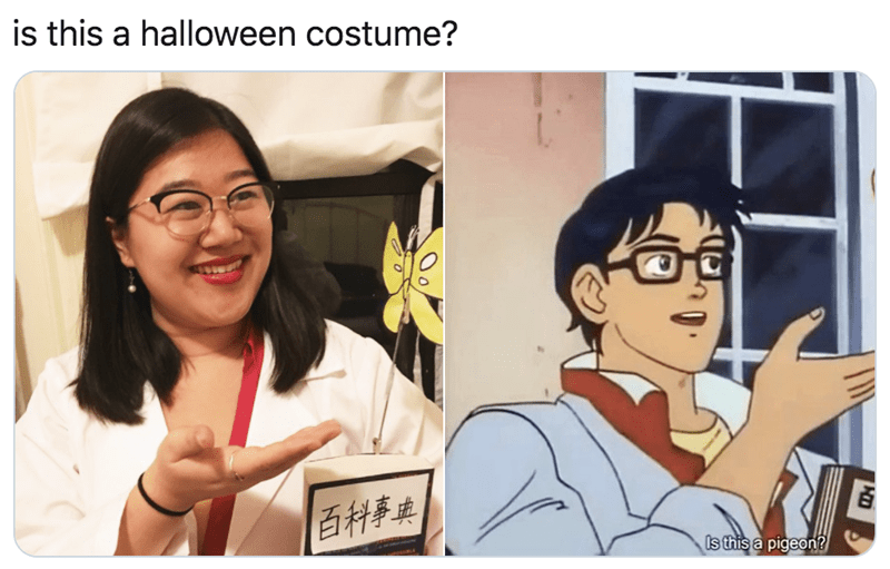 Cartoon - is this a halloween costume? 百科事典 Is this a pigeon?
