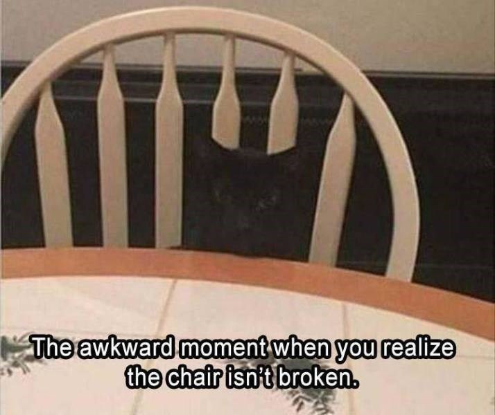Product - The awkward moment when you realize the chair isn't broken.