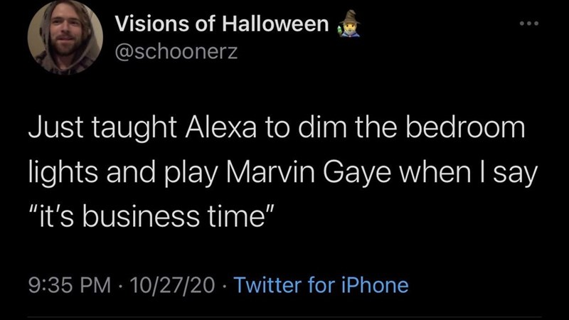"""Text - Visions of Halloween @schoonerz Just taught Alexa to dim the bedroom lights and play Marvin Gaye when I say """"it's business time"""" 9:35 PM · 10/27/20 · Twitter for iPhone"""