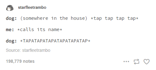 Text - starfleetrambo dog: (somewhere in the house) *tap tap tap tap* me: *calls its name* dog: *TAPATАРАТАРАТАРАТАРАТАР* Source: starfleetrambo 198,779 notes