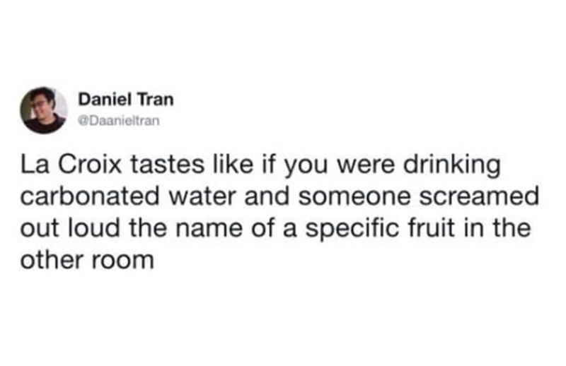 Text - Daniel Tran @Daanieltran La Croix tastes like if you were drinking carbonated water and someone screamed out loud the name of a specific fruit in the other room