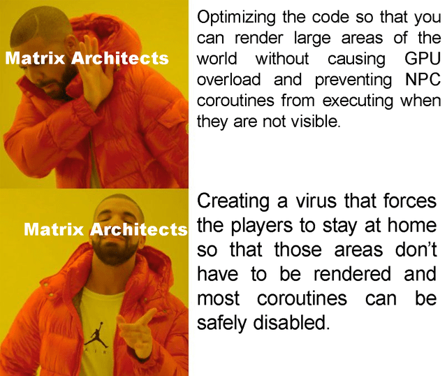 Text - Optimizing the code so that you can render large areas of the world without causing GPU overload and preventing NPC coroutines from executing when they are not visible. Matrix Architects Creating a virus that forces Matrix Architects the players to stay at home so that those areas don't have to be rendered and most coroutines can be safely disabled.