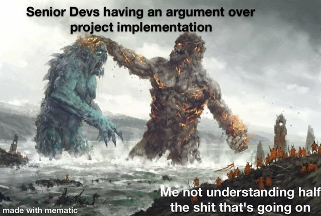 Action-adventure game - Senior Devs having an argument over project implementation Me not understanding half the shit that's going on made with mematic