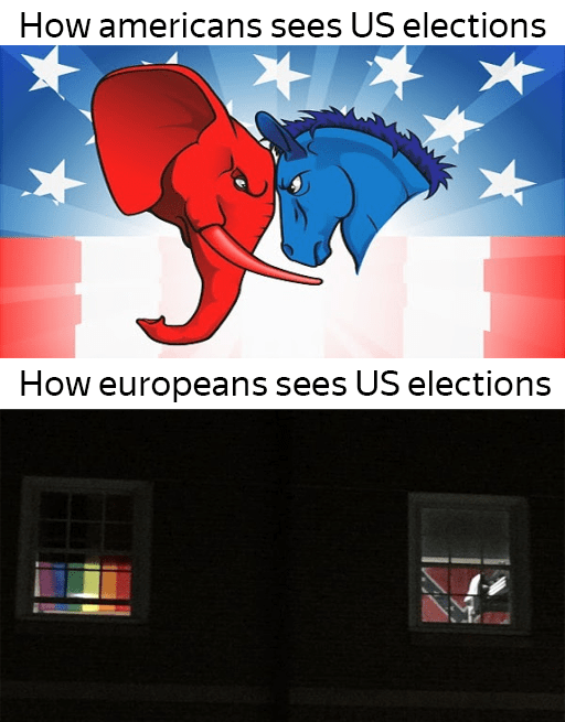 Cartoon - How americans sees US elections How europeans sees US elections