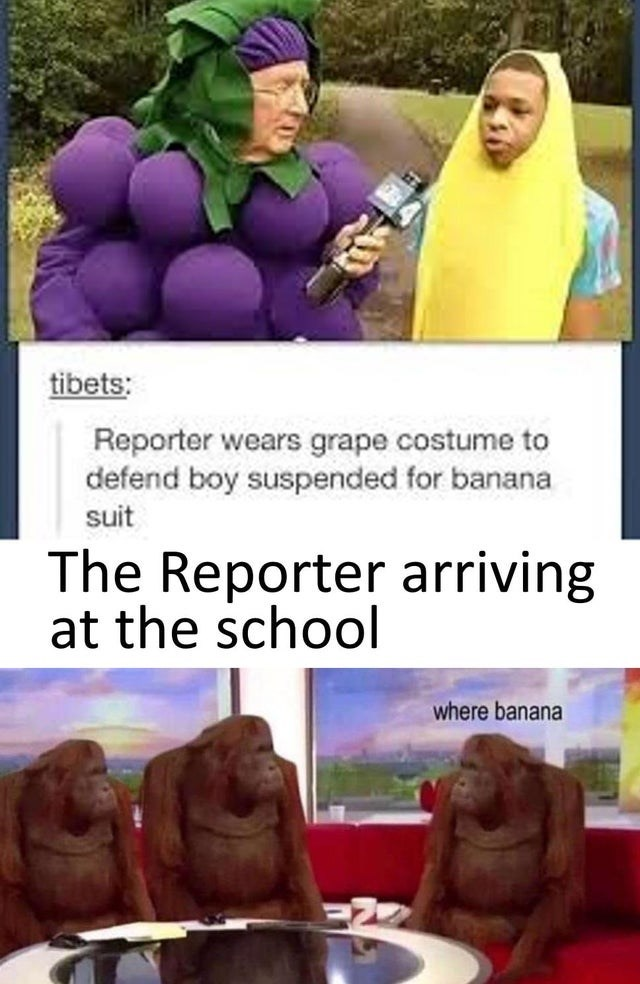 Purple - tibets: Reporter wears grape costume to defend boy suspended for banana suit The Reporter arriving at the school where banana