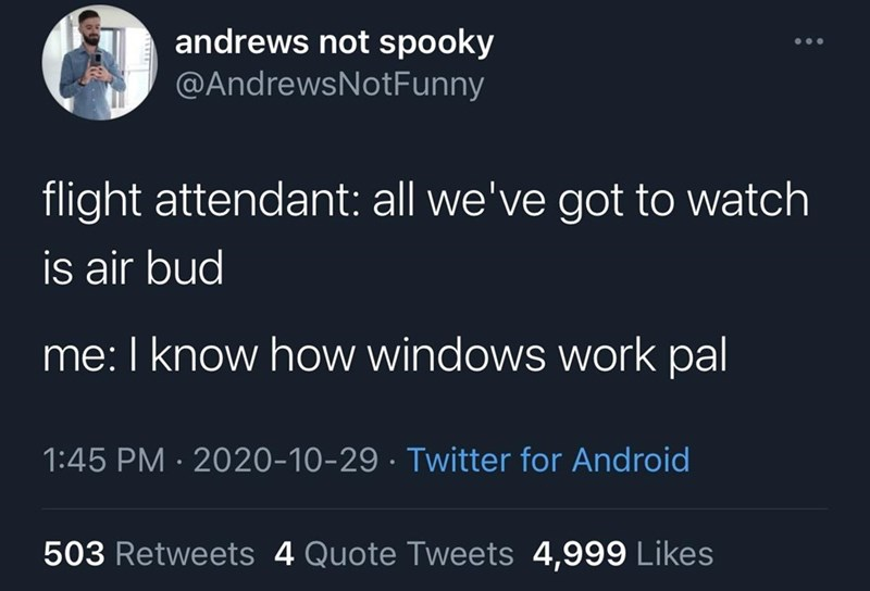 Text - andrews not spooky @AndrewsNotFunny flight attendant: all we've got to watch is air bud me: I know how windows work pal 1:45 PM · 2020-10-29 · Twitter for Android 503 Retweets 4 Quote Tweets 4,999 Likes