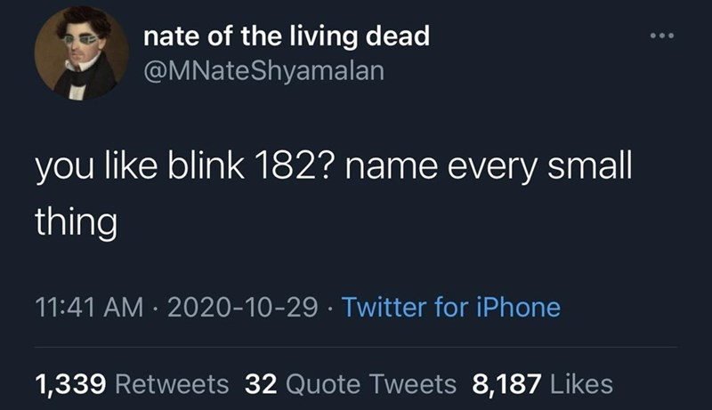 Text - nate of the living dead @MNateShyamalan you like blink 182? name every small thing 11:41 AM · 2020-10-29 · Twitter for iPhone 1,339 Retweets 32 Quote Tweets 8,187 Likes