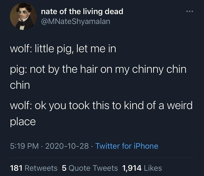 Text - nate of the living dead @MNateShyamalan wolf: little pig, let me in pig: not by the hair on my chinny chin chin wolf: ok you took this to kind of a weird place 5:19 PM · 2020-10-28 · Twitter for iPhone 181 Retweets 5 Quote Tweets 1,914 Likes