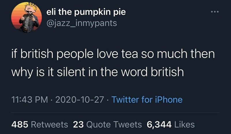 Text - eli the pumpkin pie @jazz_inmypants if british people love tea so much then why is it silent in the word british 11:43 PM · 2020-10-27 · Twitter for iPhone 485 Retweets 23 Quote Tweets 6,344 Likes