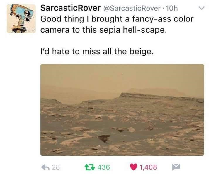 Text - SarcasticRover @SarcasticRover · 10h Good thing I brought a fancy-ass color camera to this sepia hell-scape. l'd hate to miss all the beige. 6 28 17 436 1,408
