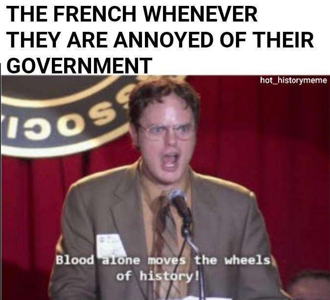 Facial expression - THE FRENCH WHENEVER THEY ARE ANNOYED OF THEIR GOVERNMENT hot historymeme Blood alone moves the wheels of history!