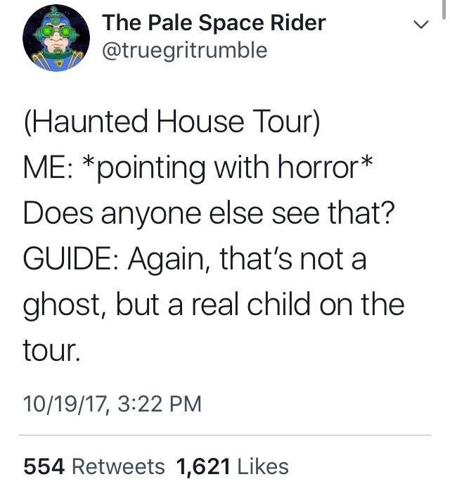 Text - The Pale Space Rider @truegritrumble (Haunted House Tour) ME: *pointing with horror* Does anyone else see that? GUIDE: Again, that's not a ghost, but a real child on the tour. 10/19/17, 3:22 PM 554 Retweets 1,621 Likes