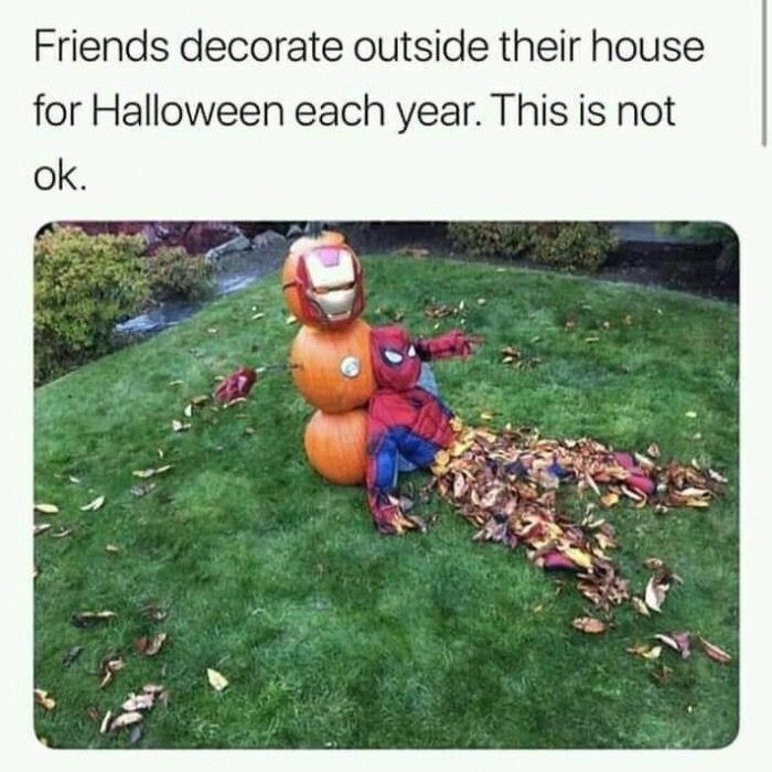 Lawn - Friends decorate outside their house for Halloween each year. This is not ok.