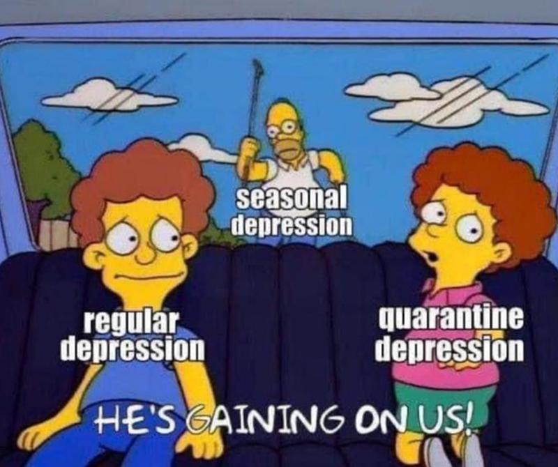 funny memes, dank memes, relatable memes, depression memes, coronavirus memes | seasonal depression regular depression quarantine depression GAINING ON US! Homer Simpson chasing Flanders family