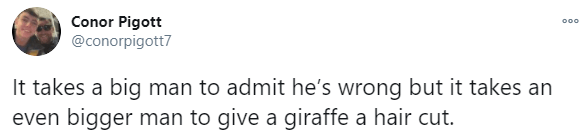 Text - Conor Pigott @conorpigott7 000 It takes a big man to admit he's wrong but it takes an even bigger man to give a giraffe a hair cut.