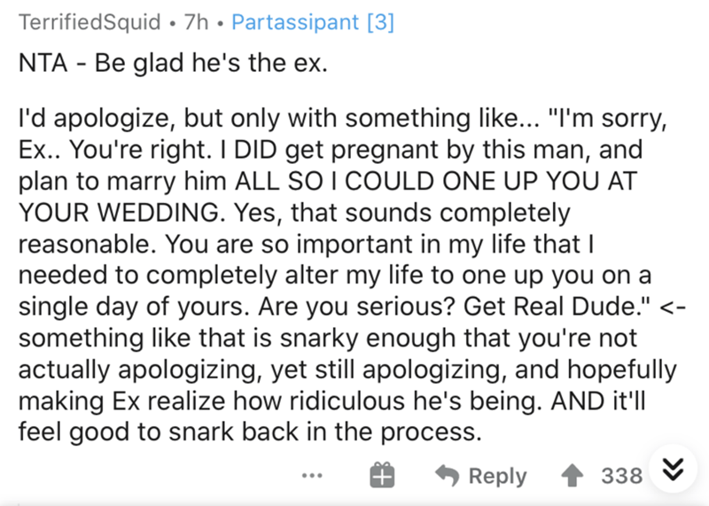 """Text - TerrifiedSquid • 7h • Partassipant [3] NTA - Be glad he's the ex. l'd apologize, but only with something like... """"I'm sorry, Ex.. You're right. I DID get pregnant by this man, and plan to marry him ALL SO I COULD ONE UP YOU AT YOUR WEDDING. Yes, that sounds completely reasonable. You are so important in my life that I needed to completely alter my life to one up you on a single day of yours. Are you serious? Get Real Dude."""" <- something like that is snarky enough that you're not actually"""