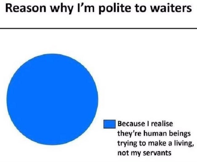 Blue - Reason why Il'm polite to waiters Because I realise they're human beings trying to make a living, not my servants