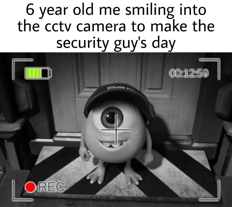 Cartoon - 6 year old me smiling into the cctv camera to make the security guy's day 00:1259 | OREC