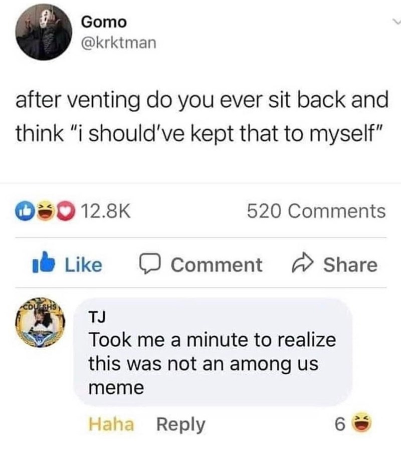 """Text - Gomo @krktman after venting do you ever sit back and think """"i should've kept that to myself"""" O 12.8K 520 Comments Like Comment W Share CDUESHS TJ Took me a minute to realize this was not an among us meme Haha Reply 6."""