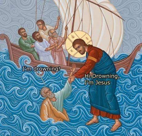 Nativity scene - I'm drowning! Hi Drowning, I'm Jesus