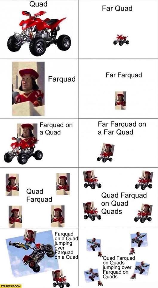 "Vehicle - Quad Far Quad Far Farquad Farquad Farquad on a Quad Far Farquad on a Far Quad Quad Quad Farquad on Quad Quads Farquad Farquad on a Quad jumping over Farquad on a Quad ""Quad Farquad on Quads jumping over Farquad on Quads STARECAT.COM"