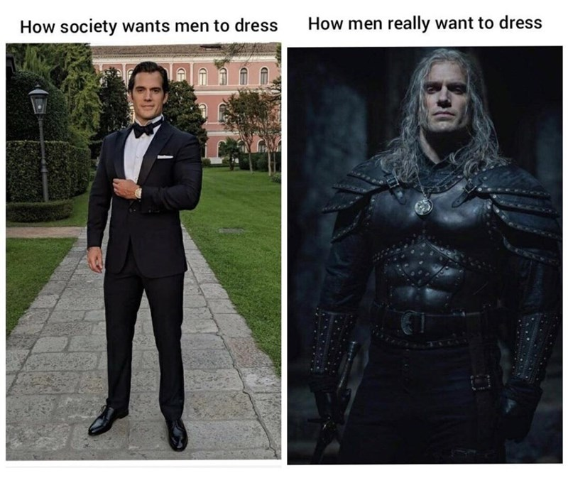 Leather - How society wants men to dress How men really want to dress