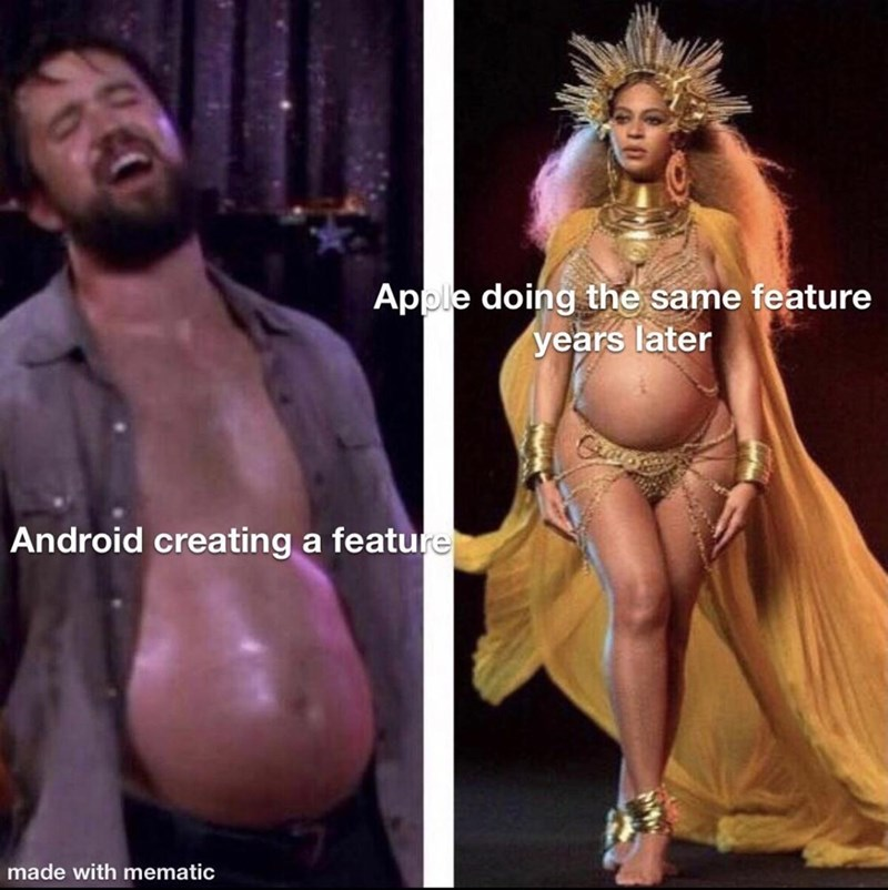 Muscle - Apple doing the same feature years later Android creating a feature made with mematic