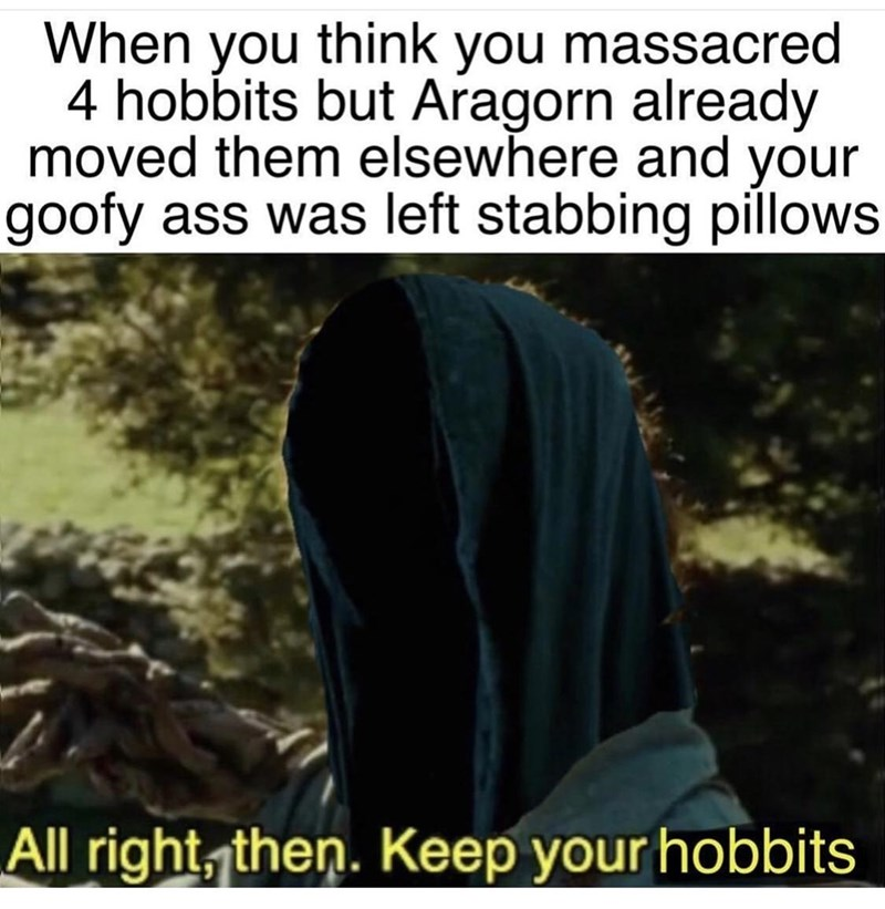 Text - When you think you massacred 4 hobbits but Aragorn already moved them elsewhere and your goofy ass was left stabbing pillows All right, then. Keep your hobbits