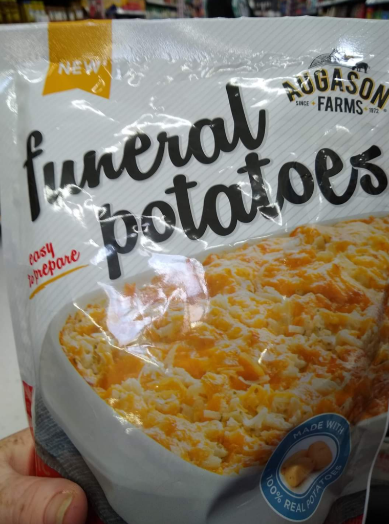 Food - NEW funeral ootatoes AUGASON FARMS SINCE+ 1972 casy prepare WITH MADE 00% REA L POTATOES