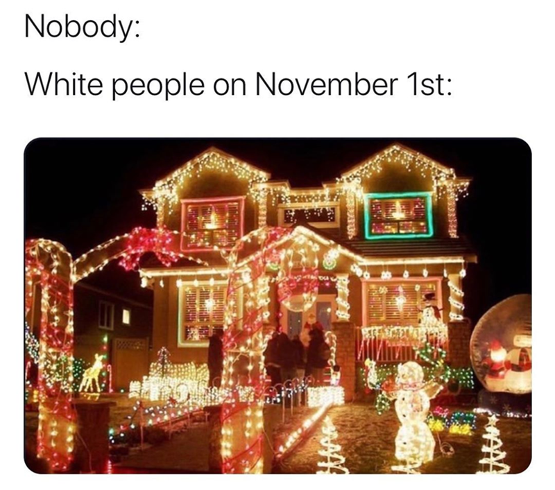 Christmas lights - Nobody: White people on November 1st: