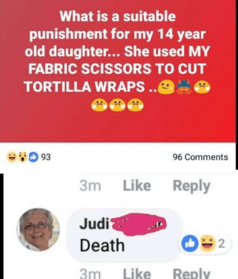 Text - What is a suitable punishment for my 14 year old daughter... She used MY FABRIC SCISSORS TO CUT TORTILLA WRAPS .O 93 96 Comments 3m Like Reply Judi Death 2 3m Like Reply